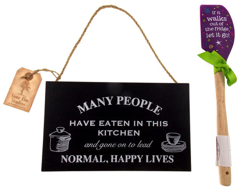 Wood Kitchen Sign Normal Happy Lives If It Walks Let It Go Purple Spatula Set 2 - FUNsational Finds - 1