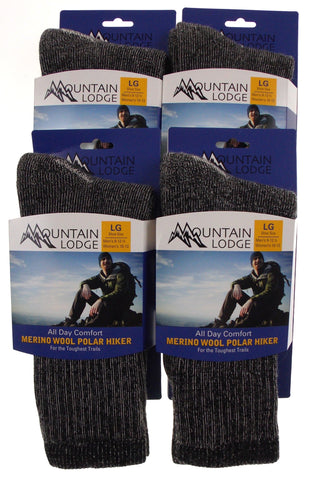 4 Pairs Mountain Lodge Merino Wool Polar Hiker Socks L Mens 9-12.5 Womens 10-13 - FUNsational Finds - 2