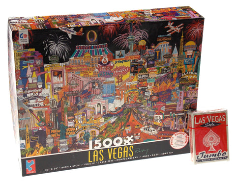 Ceaco City Lights Las Vegas Jigsaw Puzzle 1500 Pc Puzzle 32x24 US Playing Cards