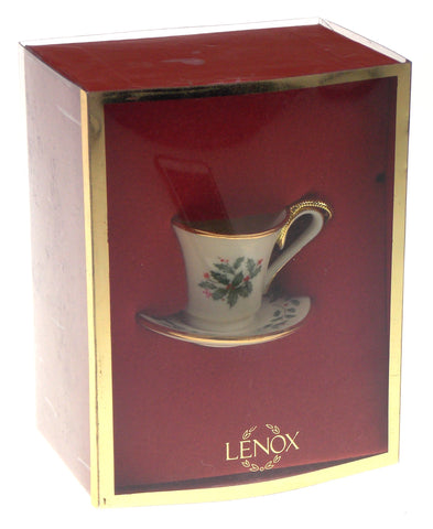 Lenox Holiday Cup & Saucer Teacup Ornament Ivy Leaves Berries Box Christmas Tree
