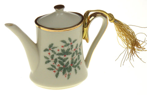 Lenox Holiday Teapot Tea Ornament Ivy Leaves Berries Box Christmas Tree Gift