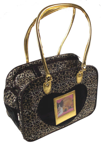 Pet Carrier Travel Bag Leopard Gold Softsided Shoulder Tote Airline Approved - FUNsational Finds - 1