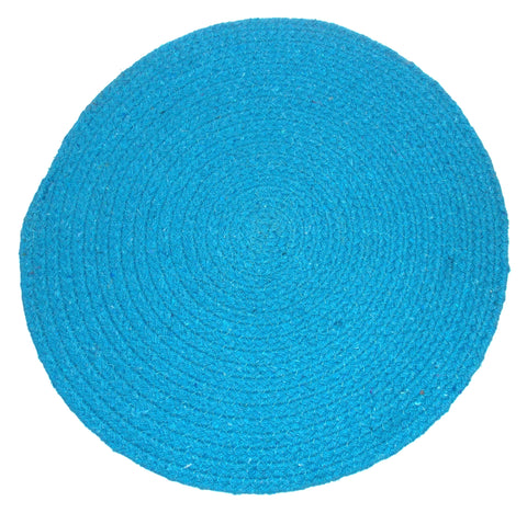 "4 Placemats Braided Blue Round 16"" Kitchen Table Fabric Tapestry Dining Cotton"