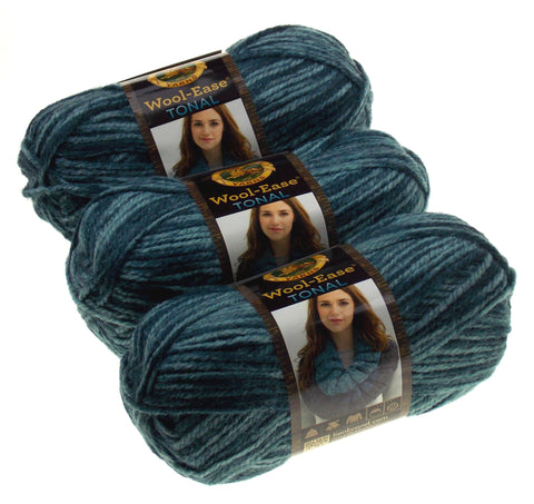 Lion Brand Yarns Wool Ease Tonal Slate Blue Lot of 3