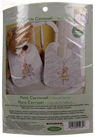 Plaid Bucilla Little Carousel Set 2 Bibs Pair Cross Stitch 45935 Bunny Duck Bear - FUNsational Finds - 1
