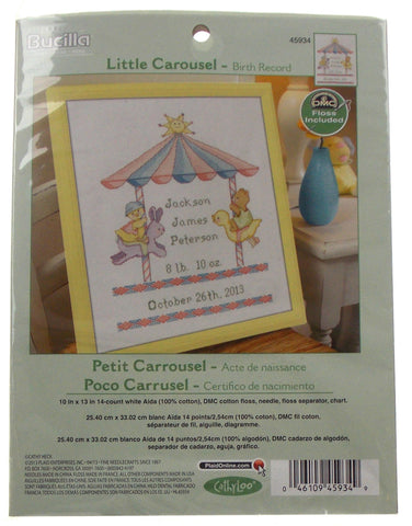 Plaid Bucilla Little Carousel Birth Record Counted Cross Stitch 45934 Bunny Duck - FUNsational Finds - 1