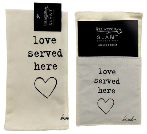 Love Served Here Set of 8 Napkins Silverware Pocket Lisa Weedn Slant Collections - FUNsational Finds - 1