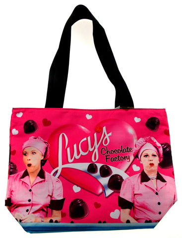 I Love Lucy Tote Bag Chocolate Factory Ethyl Wrap & Eat Westland Pink Beach - FUNsational Finds - 1