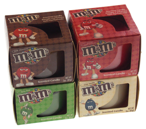 Scented Candles Set of 4 M&Ms Brown White Red Green Chocolate Vanilla Apple Pear