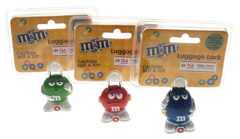 M&M Luggage Locks Blue Red Green TSA Approved MM Candies Set 3 Travel Sentry Key
