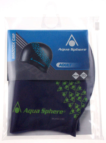 Aqua Sphere Maddox Swim Cap Adult Blue Silicone Lot 3 100% UV Protection Easy On - FUNsational Finds - 1