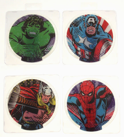 Marvel Comics Acrylic Lighted Coasters Set 4 Captain America Spiderman Hulk Thor