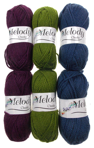 Oxford Melody Chunky Demin Blue Spring Green Elderberry Lot 6 Skeins Balls