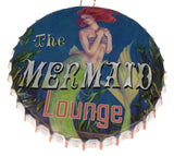 "The Mermaid Lounge Bottle Cap Sign 10"" Round Metal Garage Wall Man Cave Beach"