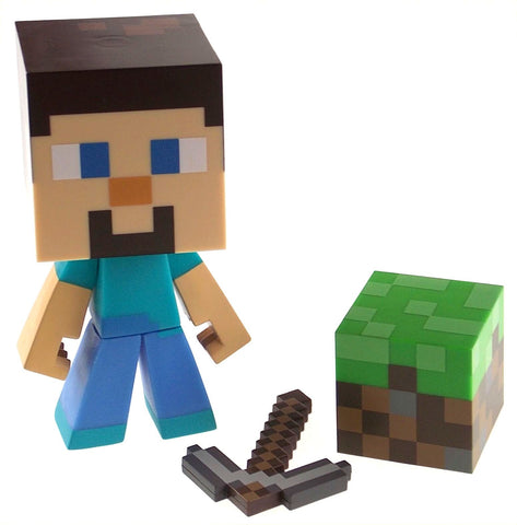 "Minecraft Steve 6"" Vinyl Figure Pixaxe 2"" Dirt Block Poseable Jinx Mojang Toy - FUNsational Finds - 2"