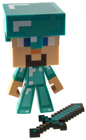 "Minecraft Steve Diamond Edition 6"" Limited Vinyl Figure Sword Helment Poseable - FUNsational Finds - 1"