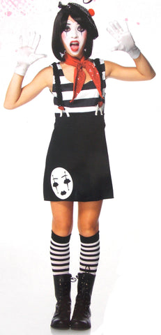 Leg Avenue Miss Mime Halloween Costume Cosplay Dress Scarf Beret Girls Jr Purim - FUNsational Finds - 1