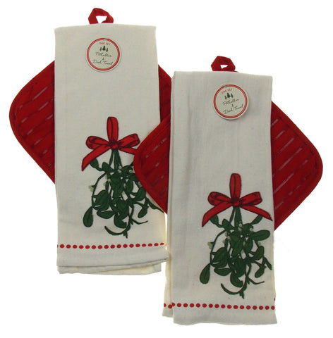 Christmas Holiday Mistletoe Dish Towel Pot Holder Set of 2 White Red