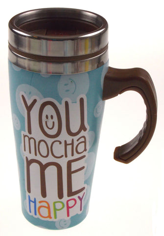 Coffee Mug You Mocha Me Happy Gift Insulated 16 oz Travel Blue Dots Stainless