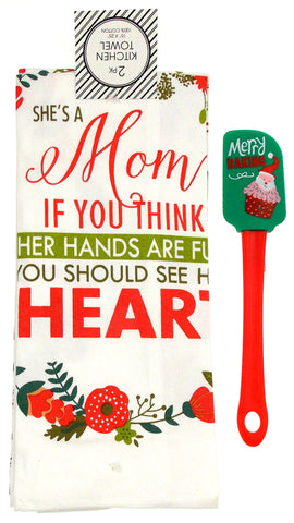 Kitchen Towels She's A Mom 15x25 Merry Baking Santa Cupcake Spatula Set 3 Cotton - FUNsational Finds - 1