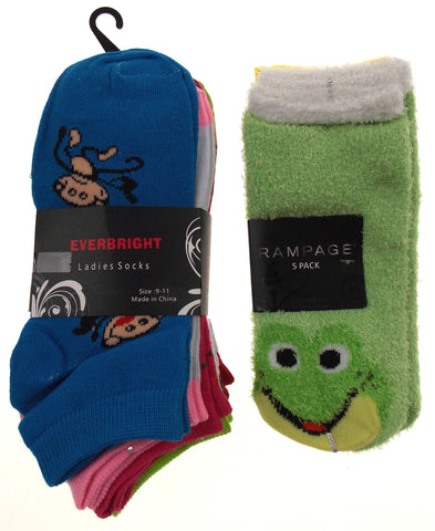 11 Pairs No Show Socks Women Rampage Everbright Size 4-10 Monkey Frog Green Blue - FUNsational Finds - 1