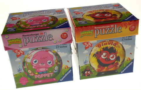 "Set 2 Moshi Monsters Ravensburger 3D Puzzle Poppet Diavlo 54 Pc 2.7"" Round NEW - FUNsational Finds - 1"