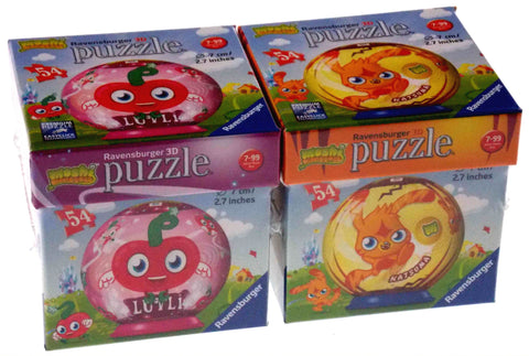 "Set 2 Moshi Monsters Ravensburger 3D Puzzle Luvli Katsuma 54 Pc 2.7"" Round NEW - FUNsational Finds - 1"