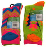 10 Pairs Crew Socks Krazisox Women Size 4-10 Multi Stripe Green Blue Pink Orange - FUNsational Finds - 2