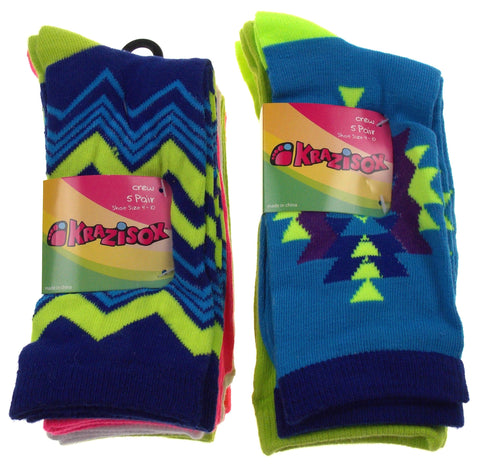 10 Pairs Crew Socks Krazisox Women Size 4-10 Multi Stripe Green Blue Pink Orange - FUNsational Finds - 1