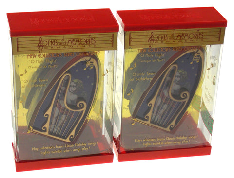 Songs & Memories Musical Ornaments Oh Holy Night Little Town of Bethlehem Set 2