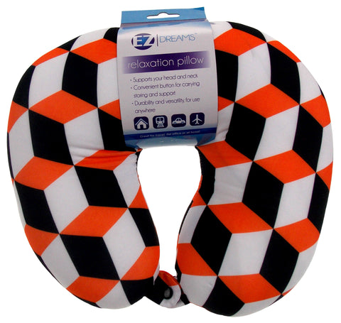 Neck Support Air Car Travel Pillow Orange Black Geometric Microbeads Relaxation - FUNsational Finds - 1
