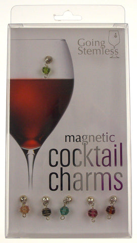 Going Stemless Christmas Holiday Ornament Magnetic Cocktail Charms Set 6 Wine Drinks