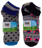 12 Pairs No Show Socks Krazisox Women Size 4-10 Owls Chicks Dots Stripes Gray - FUNsational Finds - 2