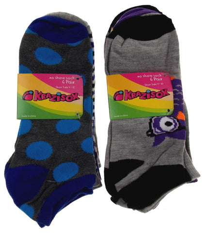 12 Pairs No Show Socks Krazisox Women Size 4-10 Owls Chicks Dots Stripes Gray - FUNsational Finds - 1