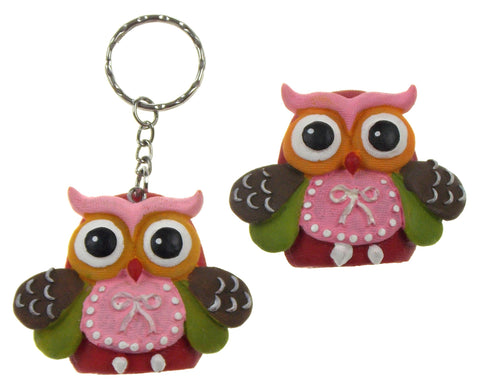 Fashioncraft Thinking Of You Wise Owl Refrigerator Magnets Key Rings Set 8 Pink