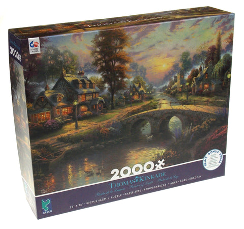 Thomas Kinkade Sunset Lamplight Lane 2000 Pcs Jigsaw Puzzle Ceaco USA Painter