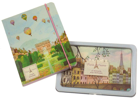 Paris Theme Life Canvas Pocket Notebook Notecards Envelopes Metal Tin Paragon - FUNsational Finds - 1