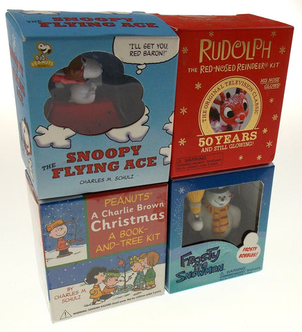 Lot of 4 Peanuts Charlie Brown Christmas Tree Snoopy Flying Ace Frosty Rudolph - FUNsational Finds - 1