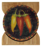 Counter Art Red Yellow Orange Peppers Round Stone Coasters Set 4 Wooden Holder