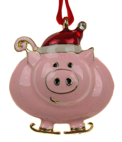 JC Penney Christmas Ornament Pink Pig with Santa Hat
