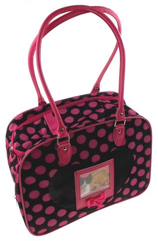 Pet Carrier Travel Bag Black Pink Polka Dots Softsided Shoulder Airline Approved - FUNsational Finds - 1