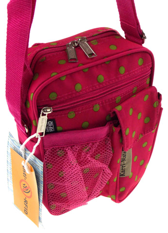 Travel Gadget Bag Pink Green Polka Dots Shoulder Strap Crossbody RFID Blocking - FUNsational Finds - 1