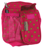 Travel Gadget Bag Pink Green Polka Dots Shoulder Strap Crossbody RFID Blocking - FUNsational Finds - 2