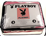 "Playboy Luxury Plush Blanket Pink Black Queen Size 79""x 94"" Heavyweight Thick - FUNsational Finds - 2"