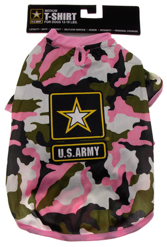 US Army T Shirt For Dogs Pink Camo Choice Size XS Small Medium Large Lightweight - FUNsational Finds - 1