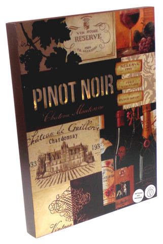 Pinot Noir Chateau Wine Sign Light Up Grapes Bottles Glass 16x12 Large Plaque - FUNsational Finds - 1