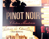 Pinot Noir Chateau Wine Sign Light Up Grapes Bottles Glass 16x12 Large Plaque - FUNsational Finds - 4