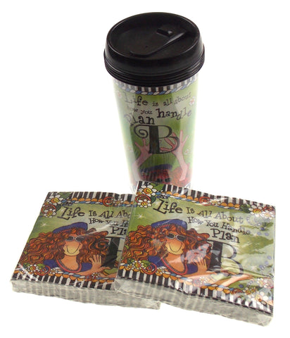 Suzy Toronto Coffee Mug 60 Napkins Set Life Is All About How You Handle Plan B