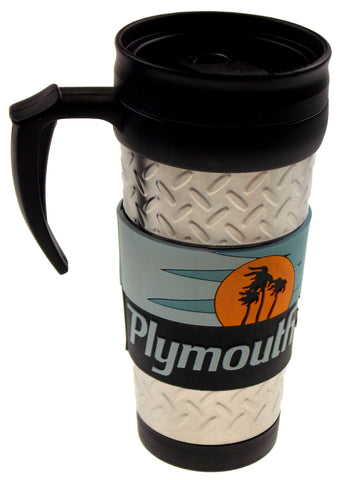 Plymouth Road Runner Travel Mug Silver Blue Red Sunset Palm Trees Chrysler Car - FUNsational Finds - 1