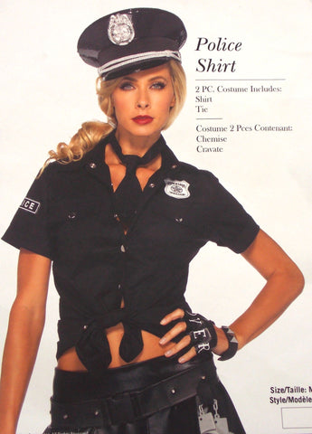 Leg Avenue Police Sexy Shirt Tie M/L 8-12 Sexy Halloween Costume Cosplay 83922 - FUNsational Finds - 1